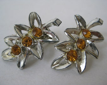 Silver Amber Rhinestone Earrings Clip Vintage
