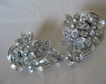 Flower Clear Silver Rhinestone Earrings Clip Vintage