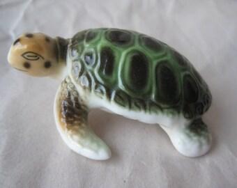 Sea Turtle Green Figurine Miniature Porcelain Vintage