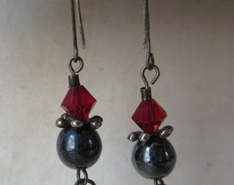 Red Black Earrings Sterling Silver Crystal Hematite Vintage 925