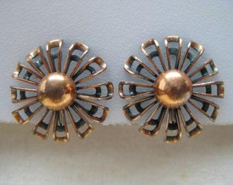 Flower Copper Earrings Screw Vintage