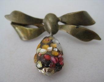 Bow Dangle Orange Red Brooch Brass Vintage Pin