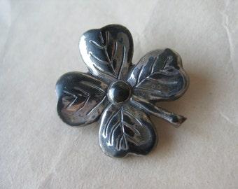 Shamrock Silver Brooch Sterling Vintage Pin 925 Lang 4 Leaf Clover St. Patrick's Day