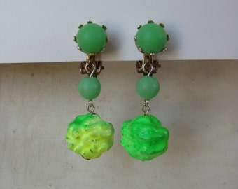 Green Yellow Neon Earrings Clip Dangle Vintage