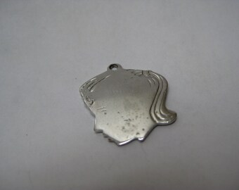 Girl Sterling Silver Charm Blank Vintage 925