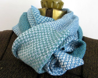 Handwoven Seed Green & Blue Bamboo Scarf