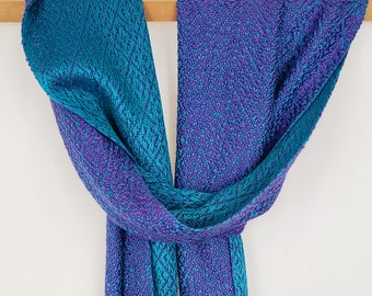Dragon Tail Handwoven Bamboo Scarf, Double-Sided, Purple and Teal