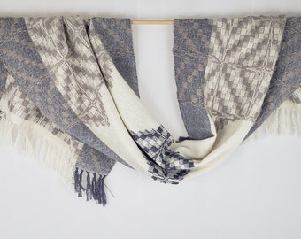 Handwoven Alpaca Silk Shawl, Twilight Colors