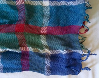Handwoven Light and Airy Plaid Cotton Scarf