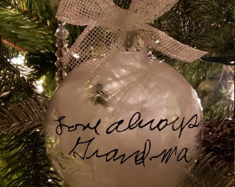Signature Ornament Christmas Ornament 1476 Tree Ornament Ornament with Actual Handwriting Handwriting Ornament Heart Ornament