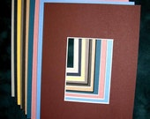 10 each Custom Cut ACEO ATC 5x7 Color Mix Mats with 2.5x3.5 or 3x5 opening