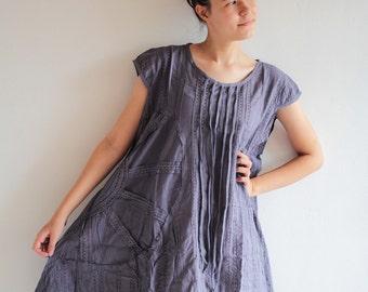 Pleated dress knee length M(1404)