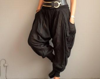 Pants/Funky harem Pants (428) long pants.Linen/cotton fits M-L size Boho/chic/funky/drawstring..Elastic waist