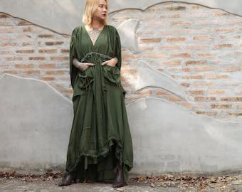 Maxi Dress  Cotton mix silk  1837  Fit M-L Bohemian /Boho /Long sleeve mix silk