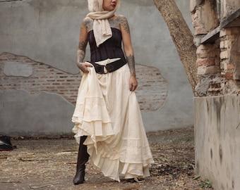 Asymmetric gypsy skirt/dress ... hippie, boho, elegant 1188 size M