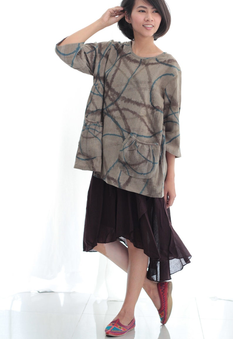 11710f030df Natural Dye and hand paint blouse Round neck only one size