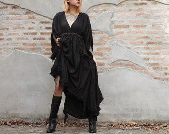 Maxi Dress  Cotton mix silk  1837  Fit M-L Bohemian /Boho /Long sleeve mix silk (366)