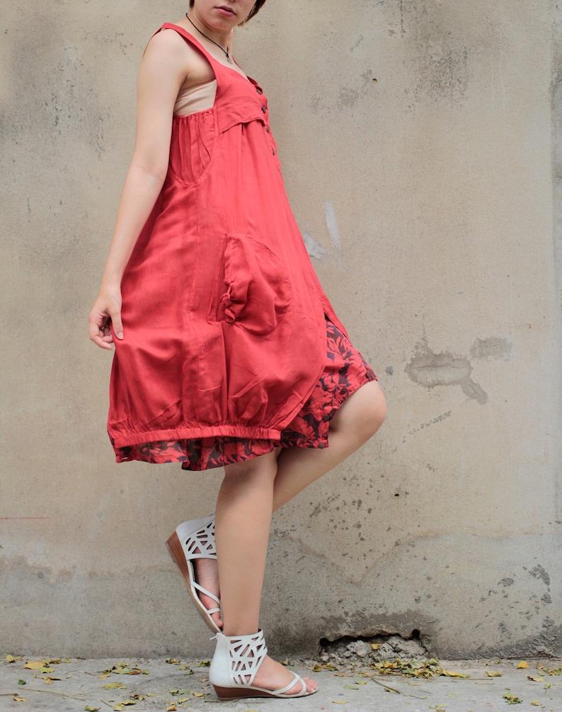 75f7fe2ce064 Mini...Jumpsuit/ dress mix silk 56 Red | Etsy