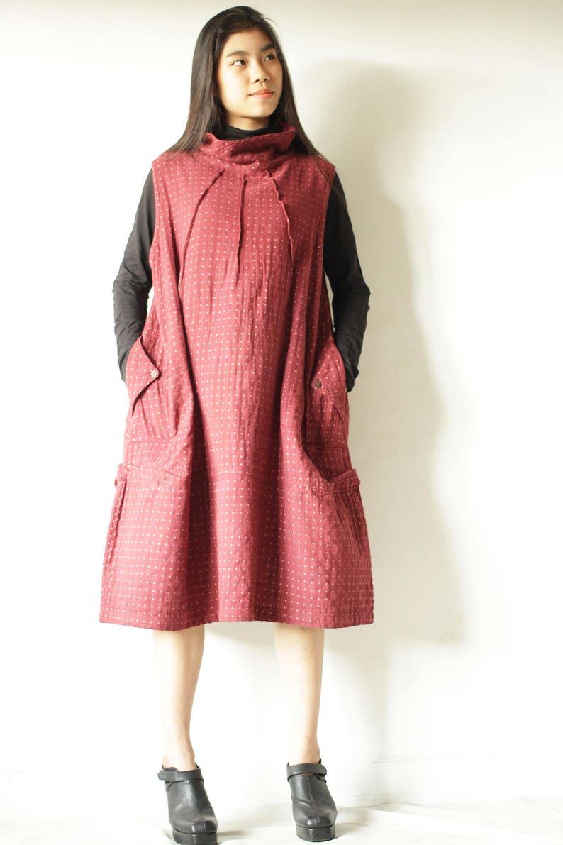 Dress/Turtle neck dress patterned fabric long sleeve knee image 0