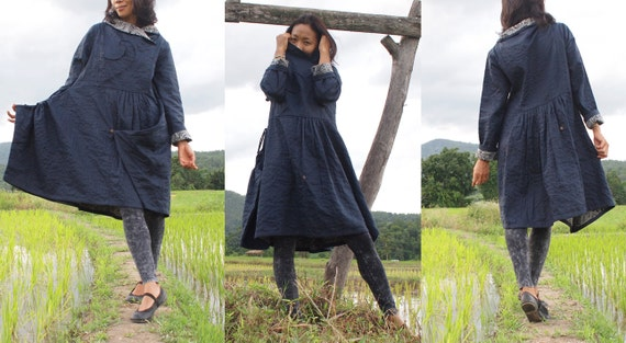 Blue coat Thick linen fits L cotton winter funky dress 1148 layers S 2 PwSUSBq