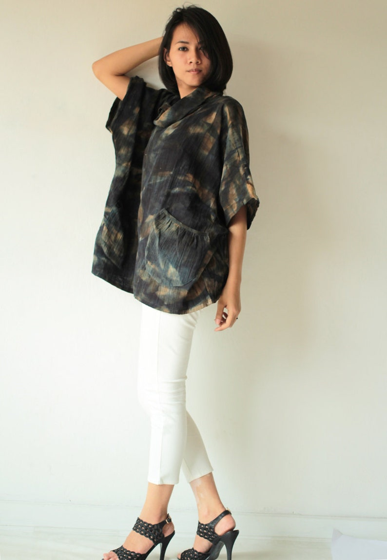 Natural  dye roll  neck blouse in only one size