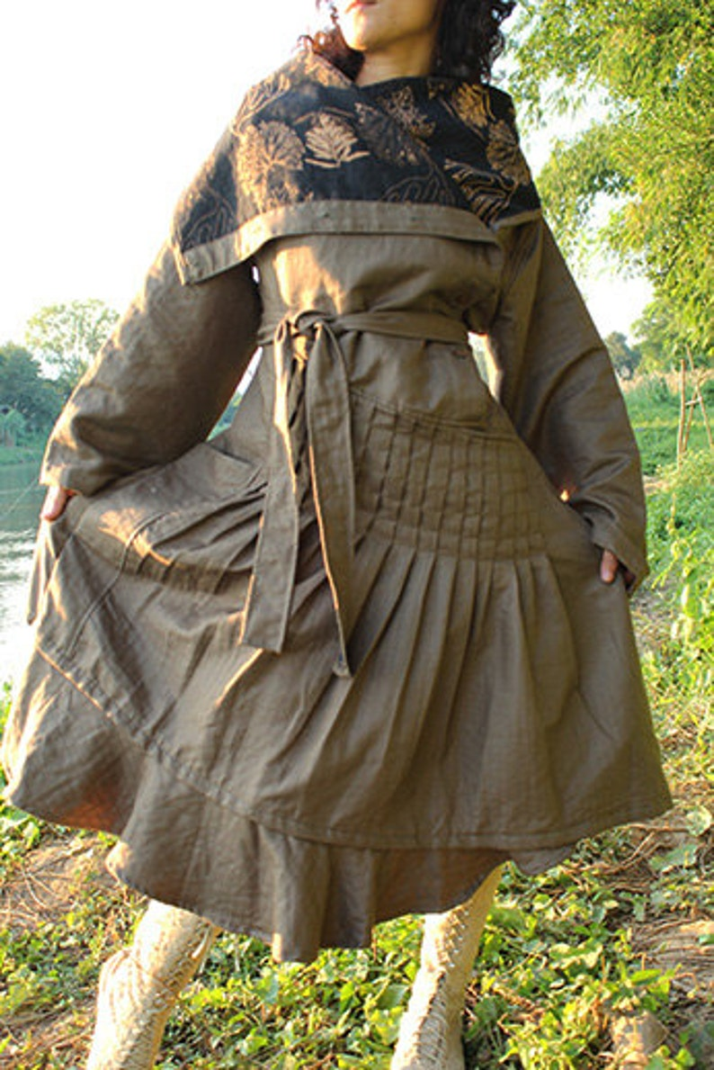 Winter dress L and XL with buttons  linen 2 layers fit for 388