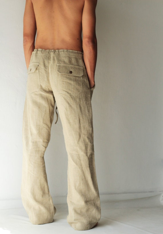 Men's 100 percent hemp pants..Ivory and available in all colour and all sizes [P 1434] iMI03AkHzH