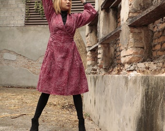 Knee length autum and winter dress floral print M size