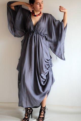 Maxi Dress .... Coton mix silk  (366)  Fit M-L Bohemian Boho Long sleeve