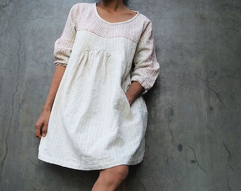 Mini dress/Tunic blouse Tone poem...100% cotton,  Ivory dress with hand stitches  red thread detail (1402) and More colour avalible.
