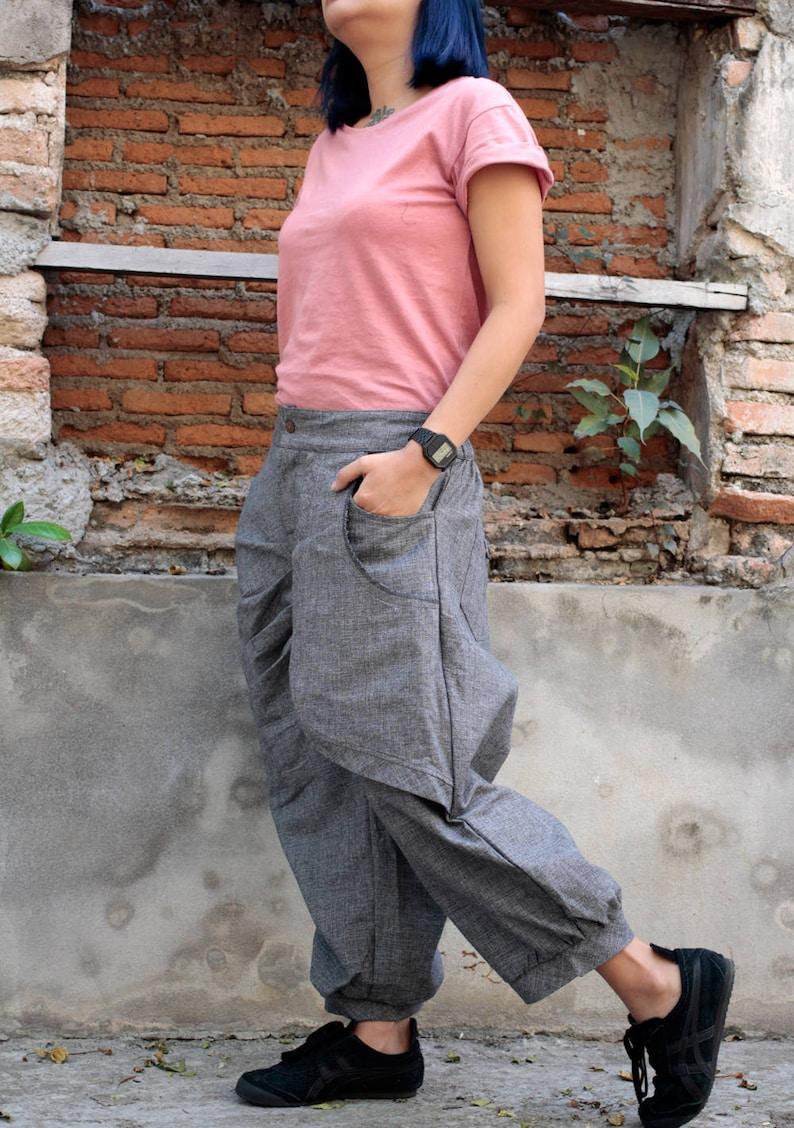 PantsFunky  Linencotton Pants 137 long pantscapri pantselegant pantslinenblackbrownblue greypurplehippiefunkyMLXL