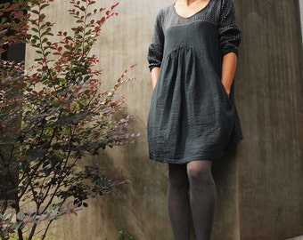 Mini Dress/Tunic tone poem ...Black 100% cotton hand stitched white thread (1402) All sizes available.