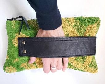 Leather Clutch. Vintage Towel. Leather Bag. Upcycled Black Leather. Towel Bag. 1970's.