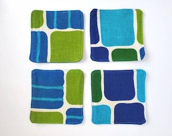 Set of 4 Coasters. 70's Decor. Denim Coasters. Upcycled Denim. Vintage Fabric Coasters. Repurposed. Set of 4 Coasters. Washable.