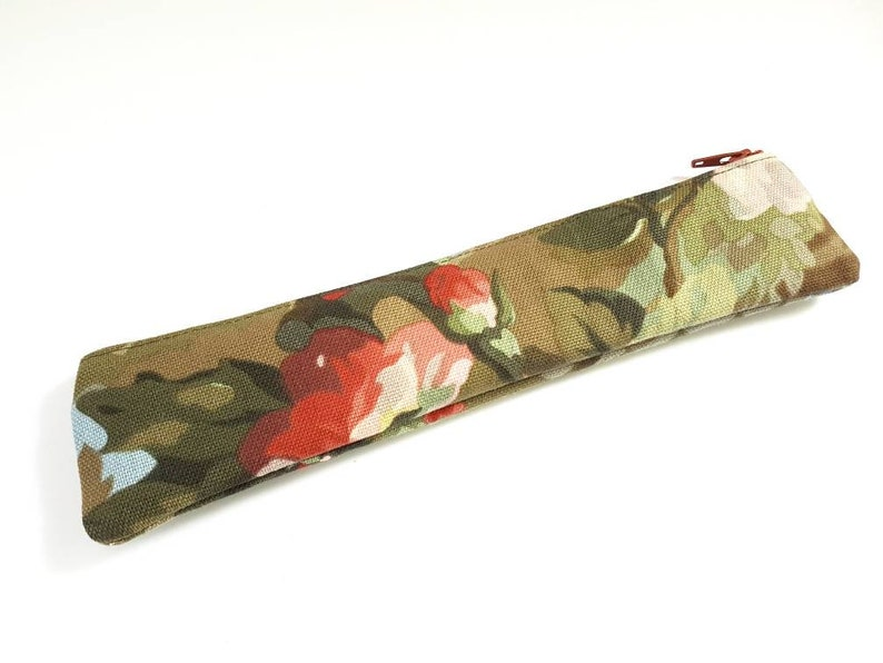 Metal Straw Holder Ready To Ship. Pencilcase Metal Straw Case Upcycled Floral Pouch Flower Print Repurposed Bag Artist Case