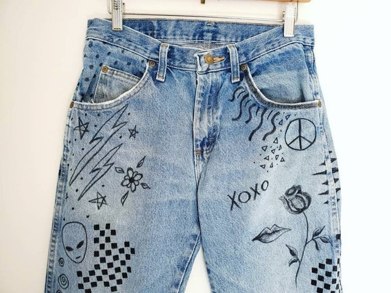Vintage Jeans. Wrangler. Art On Denim. Hand Drawn.