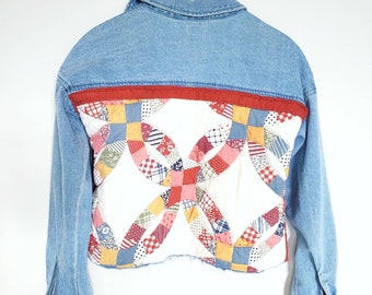 Upcycled Denim Top. Quilted Top. Denim Shirt. Denim Jacket. Denim. Repurposed Top. Cropped Denim Top. Recycled Quilt. Vintage Quilt.