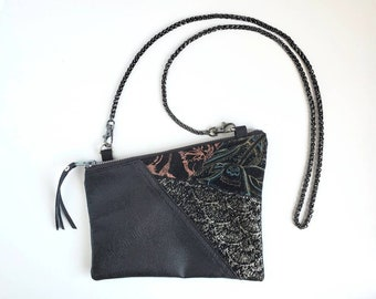 Leather Bag. Denim Purse. 80's Bag. Upcycled Bag. Upcycled Leather Purse. Shoulder Purse. Denim Bag. 1980's Purse.