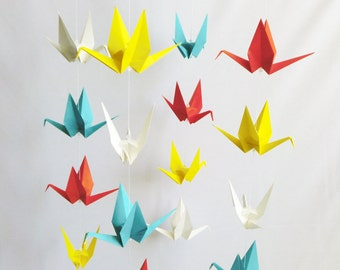 READY TO SHIP - Origami Crane Hanging Mobile - Primary Colors - Home Decor - Kids Room Decor