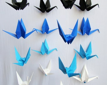 READY TO SHIP - Origami Crane Hanging Mobile - Blue Ombre Themed Cranes - Home Decor - Kids Room Decor