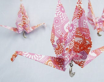 READY TO SHIP - Origami Crane Hanging Mobile - Girl Colors 2 - Home Decor - Kids Room Decor
