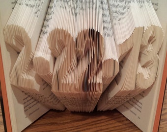 Custom Date Folded Book Art - Any Date or Set of 3 - 7 numbers