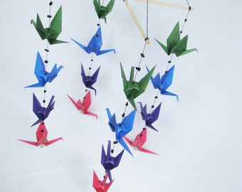 READY TO SHIP - Origami Crane Hanging Mobile - Dark Colors - Home Decor - Kids Room Decor