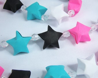 Lucky Star Garland - Pink, Teal, Black, and White - READY TO SHIP