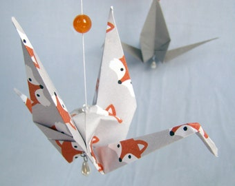READY TO SHIP - Origami Crane Hanging Mobile - Fox Theme - Home Decor - Kids Room Decor