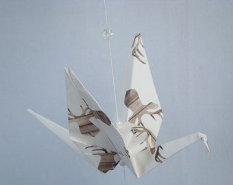 READY TO SHIP - Origami Crane Hanging Mobile - Woodland/Deer Theme - Home Decor - Kids Room Decor
