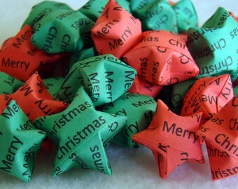100 Origami Lucky Stars - Merry Christmas - Red and Green