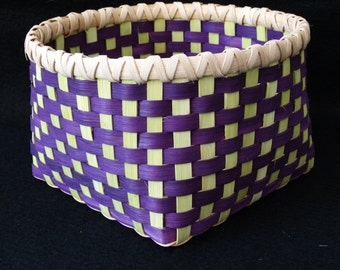 Hand Woven Basket in Purple and Chartreuse (Lime Green). Storage Basket. Baskets.  Gift basket.  Hand made baskets in fun colors!