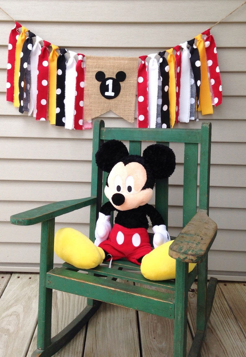 Mickey Mouse Birthday photo props Sweet one first Birthday 1st birthday Highchair Birthday banner ONE banner Black Red Yellow