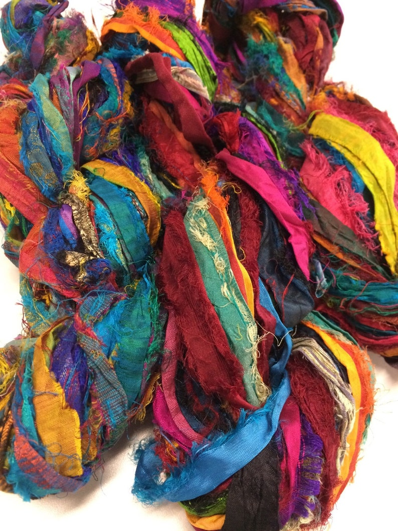 Sari Ribbon Multi Color  Recycled Silk and Fabric Remnant image 0